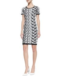 Nicole Miller Artelier - Short-Sleeve Floral-Print Dress - Lyst