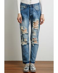 Forever 21 Distressed Straight-Leg Jeans - Lyst