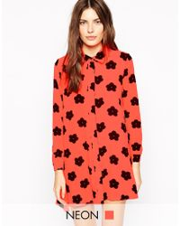 AX Paris Daisy Print Shirt Dress - Lyst