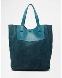Pieces - Suede Shopper Bag - Lyst
