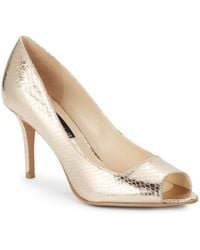 Steven By Steve Madden Fate Snakeembossed Peeptoe Pumps - Lyst