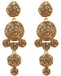 Oscar de la Renta Gold Tone Swirl Drop Earrings - Lyst
