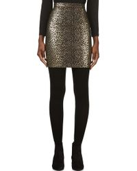 Saint Laurent Black and Gold Leopard Brocade Skirt - Lyst