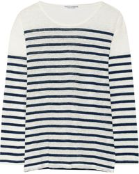 Current/Elliott Charlotte Gainsbourg The Long Sleeve Striped Slub Linen Top - Lyst