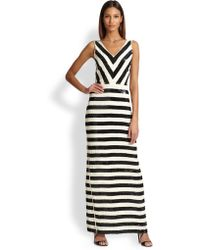 Nicole Miller Sequin Stripe Maxi Dress - Lyst