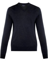 Lanvin V-Neck Merino-Wool Sweater - Lyst