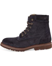 Brunello Cucinelli Laceup Suede Boot - Lyst