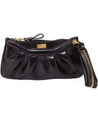 Tom Ford Womens Ava Pleated Leather Wristlet Bag Black - Lyst
