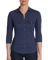 James Perse Rolledsleeve Buttonfront Shirt - Lyst