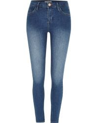 River Island | Mid Blue Wash Amelie Superskinny Jeans | Lyst