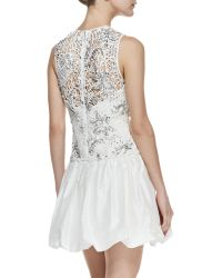 Rebecca Taylor Sleeveless Embellished Illusion Cocktail Dress - Lyst