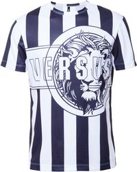 Versus  Striped Logo Print T-Shirt black - Lyst