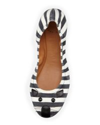 Marc By Marc Jacobs Striped Mouse Scrunch Flat Blackwhite - Lyst