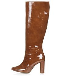 Topshop Online Exclusive Carrie Patent High Leg Boots - Lyst