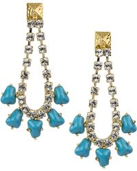 Sam Edelman Goldtone Chain Drop Earrings with Turquoise Stones - Lyst
