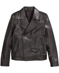 H&M Leather Biker Jacket black - Lyst