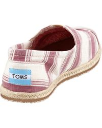 Toms Umbrellastripe Espadrille Slipon Shiraz Red - Lyst