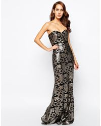 Forever Unique Bandeau Maxi Dress In Baroque Sequin - Lyst