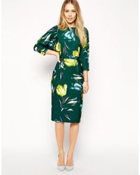 Asos Wiggle Dress with Wrap Back in Crepe Tulip Print - Lyst