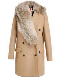 MSGM Coyote Collar Camel Coat - Lyst