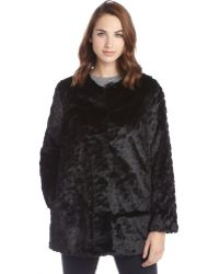 Sam Edelman Black Faux Fur Jacket - Lyst
