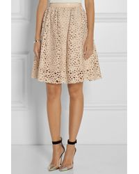 Karl Lagerfeld Resi Embroidered Faux Leather Skirt - Lyst