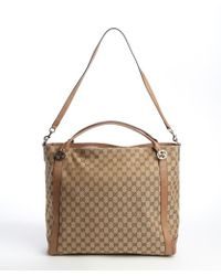 Gucci Beige Gg Canvas and Leather Large Tote Bag - Lyst