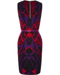 Elie Saab Sleeveless Intarsia Knit Sheath Dress - Lyst