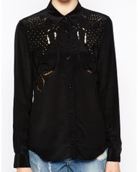 Love Moschino Long Sleeve Silk Shirt with Stud and Embellished Detail - Lyst