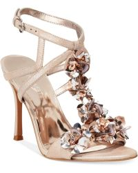 Nine West Fabour Jeweled Evening Sandals beige - Lyst