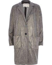 River Island Metallic Lurex Tweed Oversized Jacket - Lyst
