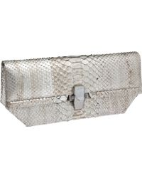 Kara Ross Mira Clutch In Oxidized Silver Python - Lyst