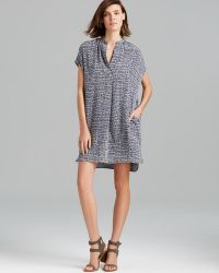 Vince Dress Static Print Silk - Lyst