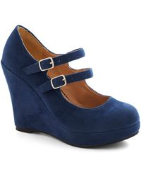 ModCloth Host Of All Wedge blue - Lyst