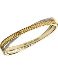 Michael Kors Goldtone Pavé Hinge Bangle Bracelet - Lyst