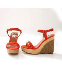 Lanvin Wedge Espadrille Sandal orange - Lyst