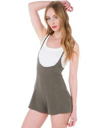 Akira Black Label - At The Surface Olive Romper - Lyst