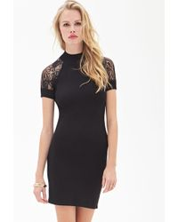 Forever 21 Lace Paneled Knit Dress - Lyst