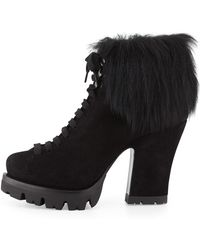 Prada Fur-trim Suede Lace-up Ankle Boot - Lyst