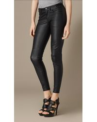 Burberry Skinny Fit Leather Trousers - Lyst