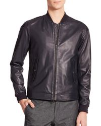 Vince Leather Bomber Jacket - Lyst