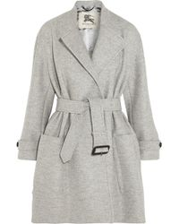 Burberry Belted Wool Coat - Lyst