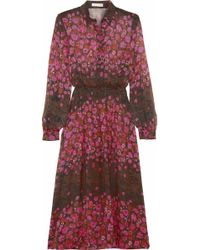 Matthew Williamson Floral Print Silk Chiffon Midi Dress - Lyst