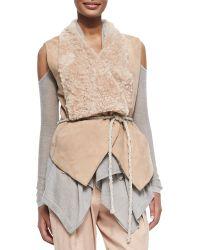 Donna Karan New York Self-Belted Vest W/ Fur Collar - Lyst