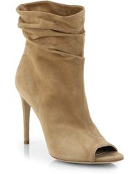 Burberry Burlison Open-Toe Suede Leather Booties - Lyst