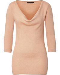 Donna Karan New York 3/4 Sleeve Draped Neck Top - Lyst