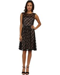 Adrianna Papell Sweetheart Plaid Lace Dress - Lyst
