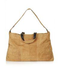 Topshop Womens Embossed Suede Luggage Bag  Tan - Lyst