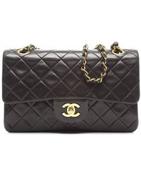 Chanel Preowned Black Lambskin Small Double Flap Bag - Lyst