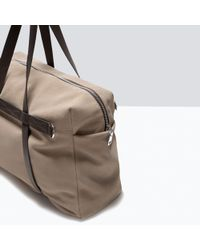 Zara Suede Bowling Bag With Contrast Straps - Lyst